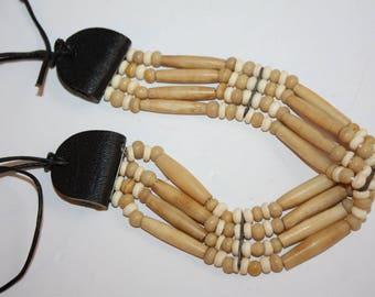 Vintage Handmade Native American Bone & Leather Choker/Bone Necklace