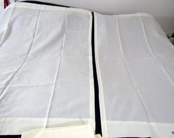 Vintage Ivory Cotton Curtains with Tiebacks 12 panels 6 windows NOS