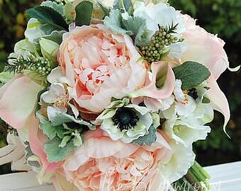 Peach bridal bouquet, Peony bouquet, Silk wedding flowers, Silk wedding bouquet, Rustic bouquet, Pink bouquet, Country chic, Savanna bouquet