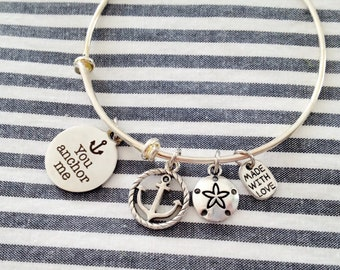 "Silver Charm Bracelet, Adjustable Bangle, ""You Anchor Me"" Expandable Bangle, Anchor Jewelry, Gifts For Her, Gifts Under 20, Stocking Stuffer"