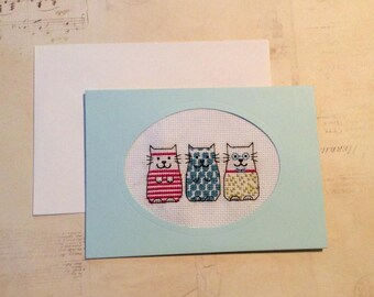 Cute Cat Handmade Card - Any Occasion.