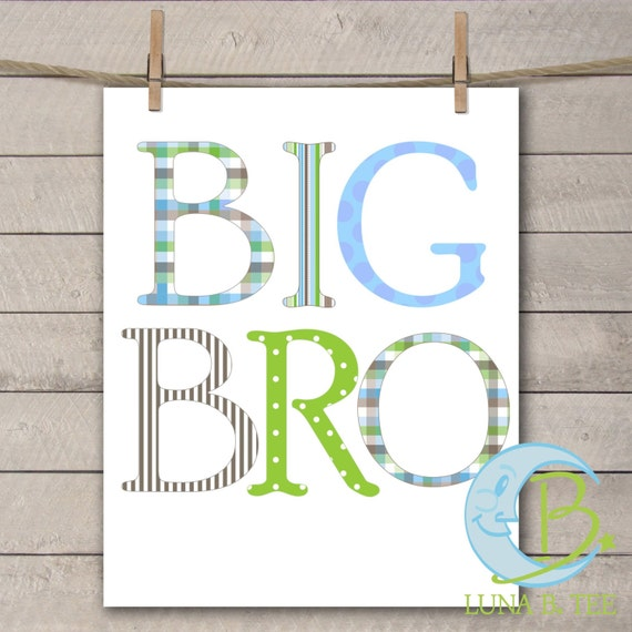 INSTANT DOWNLOAD Big Bro Brother Printable DIY Iron On to Tee T-Shirt Transfer Do It Yourself - Digital File