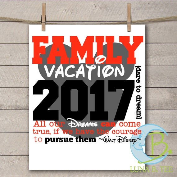 INSTANT DOWNLOAD Disney Family Vacation 2017 Shirts Printable DIY Iron On to Tee T-Shirt Transfer - Digital File