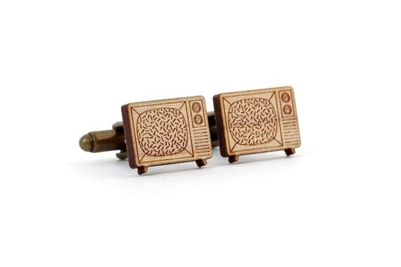 Television cufflinks - tv set cuffs - televisor accessory - vintage technology - lo-fi jewelry - lasercut maple wood - jewellery for men