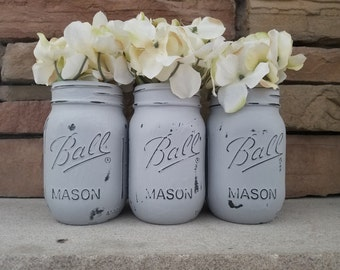 Painted Mason Jar Decor, Set of 3, Includes Flowers