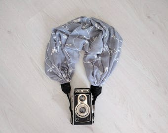 Scarf camera strap Gray camera strap Moonlight camera straps Camera scarf strap DSRL camera strap Photography accessories Camera accessory