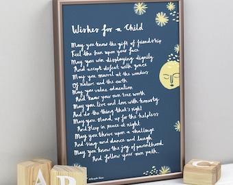 Christening Gift - Wishes for a Child Print - Poem for a Child - Personalised Christening Gift - New Baby Gift