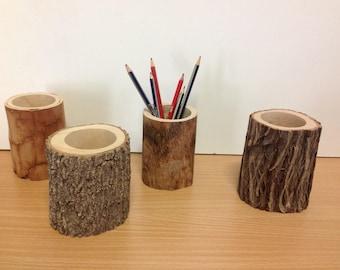 Log pen/pencil holder/log vase
