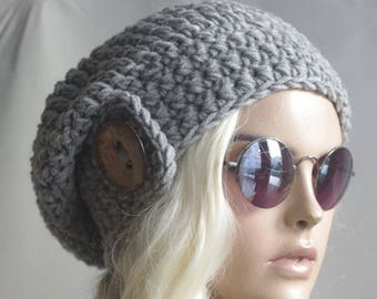 SALEEEE winter hat Womens Hats Gift for her girl hat Cap Beanie Gray woman hats Womens Cancer Headwear Chunky Knit Hat Beanie