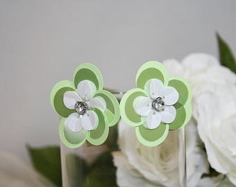 Pretty Green and White Sequin Earrings Rhinestone Center Perfect For Any Occasion