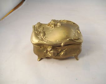 Art Nouveau Jewelry Casket, Features Roses, Excellent Condition, Red Lining