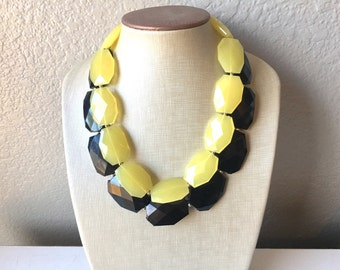 Black & yellow Necklace, multi strand jewelry, big beaded chunky statement necklace, black necklace, bridesmaid necklace, bib necklace,