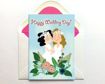 Lesbian Wedding Card, Congratulations Card, Same Sex Card, Gay Wedding Gift, Wedding Day Card, Mrs and Mrs, For Bride, Queer Card, LGBT Card
