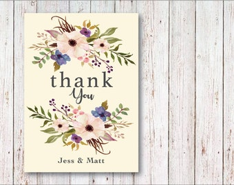 Thank You Card Flower Illustration