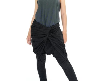 NO.183 Black Rayon Spandex Stylish Twist Front Pants, Drop Crotch Tapered Trousers, Women's Pants