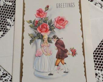 Vintage Happy Birthday Greetings Embossed Card & Envelope Unused 1940s 1950s Romantic Man Woman Colonial Dress Bouquet Vase of Pink Roses