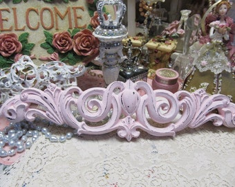 Shabby Chic WALL PEDIMENT, Pink Chalk Paint, Distressed, Resin, Hand Painted, Cottage Chic Decor, Romantic Home Decor,Pink Chic Decor