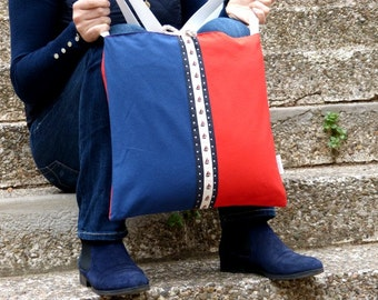 Nautical Shoulder bag  crossbody bag messenger bag two faces