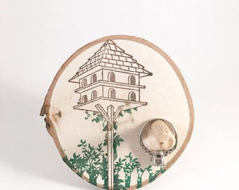 Ring Holder - wood ring stand - bird tree house