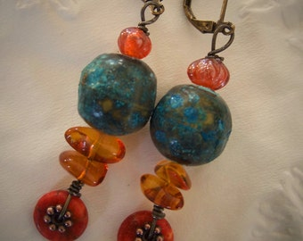 Red Turquoise earrings, Copper Patina, Baltic Amber, India Luster beads, Copper daisy spacers, Rustic, Boho, Tribal, OOAK, Free Shipping