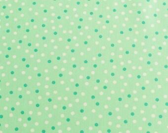 Light mint green fabric with dot print, baby mint green