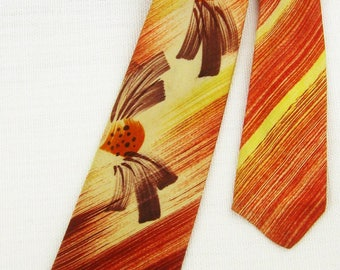 Vtg 40s Silk HAND-PAINTED Yellow Red Stripes & Figures Necktie Cravat
