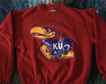Vintage University of Kansas Jayhawks College Mascot Sweatshirt
