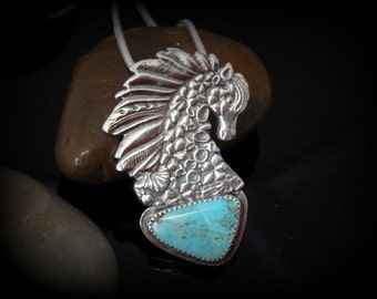 Recycled Silver, Horse, Kingman Turquoise, Natural Turquoise, Seahorse, Pendant, Necklace, Gift, OOAK