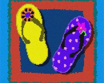Needlepoint Kit or Canvas: Bright Flip Flops
