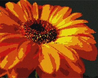 Needlepoint Kit or Canvas: Gerber Daisy
