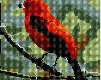 Needlepoint Kit or Canvas: Scarlet Tanager