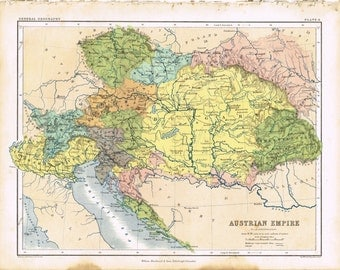 Antique vintage Victorian, Hand Atlas General and Descriptive Geography A. Keith Johnson 1852, colour color print map  - Austrian Empire