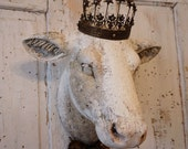 French cow head wall mount faux hand painted white aged rustic farmhouse mounted heifer taxidermy lg hanging home decor anita spero design