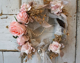Shabby tattered halo French cottage chic wreath lace wrapped twigs w/ moss covered in handmade tattered pink and lg roses anita spero design