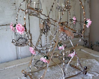 Ferris wheel wire sculpture decor lg shabby cottage chic painted distressed metal vintage wedding nursery or home decor anita spero design