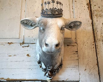 Cow head wall mount decor painted white gray French farmhouse hanging fake taxidermy heifer adorned roses w/ crown decor anita spero design