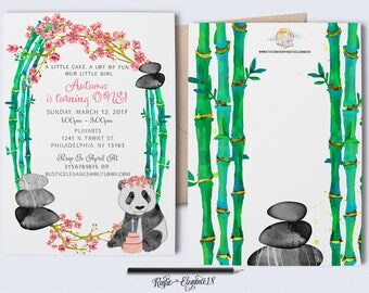 Birthday Panda Invitation.Cherry Blossom Invite.Bamboo Invite.Panda Party.