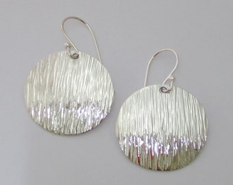 Unique Textured Jewelry 925 Sterling Silver Disc Earrings, Dainty Earrings, Silver Disc Dangle Earrings, Hammered Earrings, Simple Earring