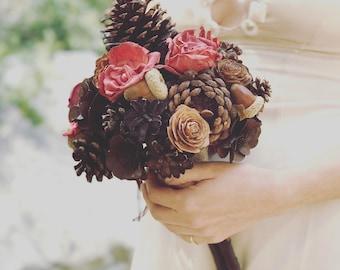 Pine Cone Bridel Bouquet, Alternative Bridel Bouquet, Rustic Wedding Boquet