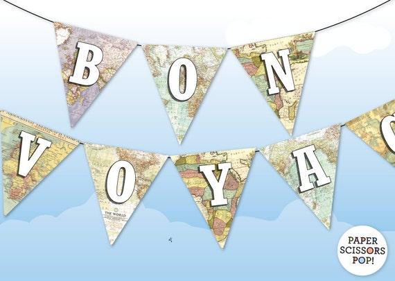 Bon Voyage Banner Farewell Party Decor Vintage Maps