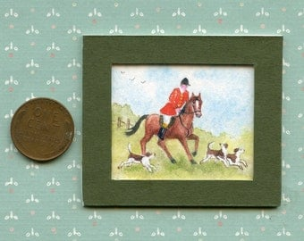 "Original Miniature Watercolor Painting for 1:12th scale Doll House ""Horse & Hounds"" by Miniature Artist Sandra Frantz"