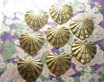 8 Vintage Brass 28mm Hearts