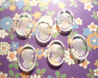6 Lucite 18x13mm Victorian Limoges