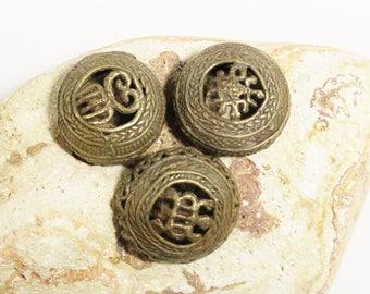 Vintage Adinkra Symbols Bead Pendants Daufe Denkyem, African Brass Pendants,  (AJ22)