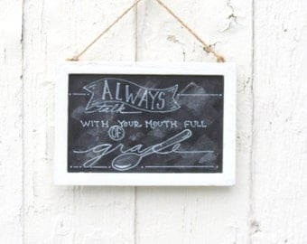Farmhouse Decor, Bible verse art, chalkboard bible verse, wall hanging for kitchen, office, dorm room,  chalk board art, hand lettered sign