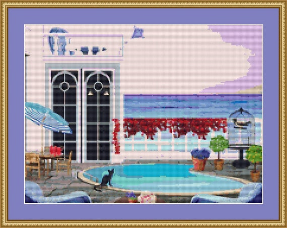 Cat By The Pool Cross Stitch Pattern /Digital PDF Files /Instant downloadable