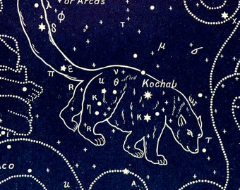 1911 Antique print of STARS. CONSTELLATIONS. Ursa Minor. Astronomy print. Zodiacal Constellations. Zodiac. 116 years old celestial chart