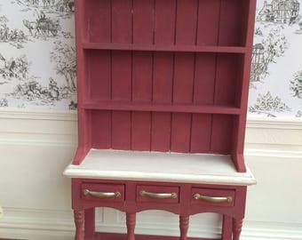 Dollhouse miniature Handpainted Cabinet with three drawers