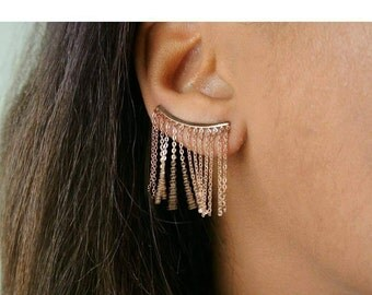 Gold Fringe Ear Climbers