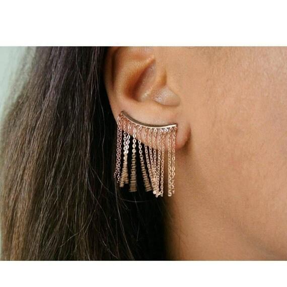 Gold Fringe Ear Climbers